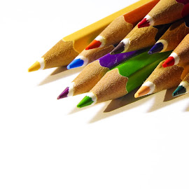 Pencils by Rejinten Jayawardhana - Novices Only Macro ( macro, colors, white, closeup, pencils )