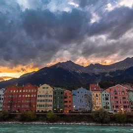 Nightfall on Innsbruck by Stephen Bridger - City,  Street & Park  Night ( clouds, mountain, europe, architecture, travel, cloud formations, mountains, colourful, night photography, sunset, innsbruck, austria, travel photography, river )
