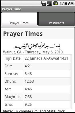 Prayer Time and Resturants