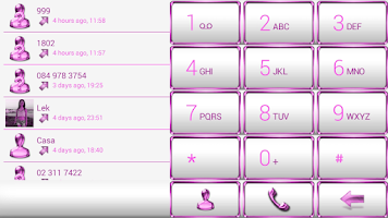 Screenshot of exDialer Frame Pink White Skin