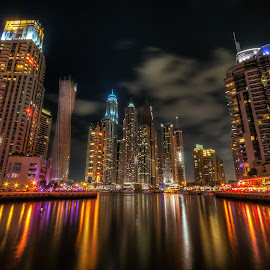 Dubai Marina by Lex Tandog - City,  Street & Park  Night ( emirates, arab, dubai, uae, marina,  )