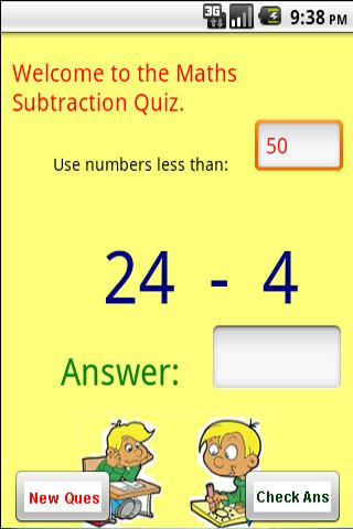 Maths - Subtraction Quiz