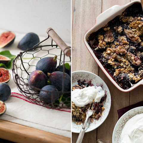 Fig-Blueberry Crisp with a Goat Cheese Whipped Cream