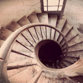 Abandoned stairs by Florence Guichard - Buildings & Architecture Decaying & Abandoned ( urban, urbex, old, stairs, mansion, spiral, dirt, exploration, decay, abandoned )