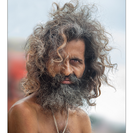 The Silent Monk by Subrata Kar - People Portraits of Men ( colour, monk, beneras, ganges, sadhu, portrait )