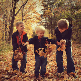 Happiness Is... by Chandra Whitfield - Babies & Children Children Candids ( child, nature, autumn, joy, fall, children, leaves, photography,  )
