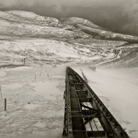 Mountain Rail line by Stuart Lilley - Landscapes Mountains & Hills ( scotland, mountains, mountain, black and white, snow, rail,  )