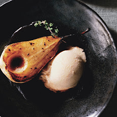 Bosc Pears in Rosé Wine with Persimmon Ice Cream