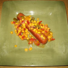 Fresh Corn Salsa With Grilled Beef Knockwurst