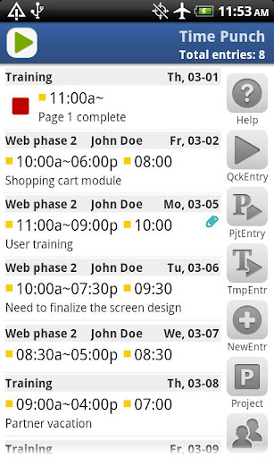 time-tracker-timepunch-lite for android screenshot