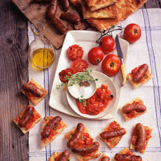 Grilled Italian Sausages and Tomatoes on Focaccia