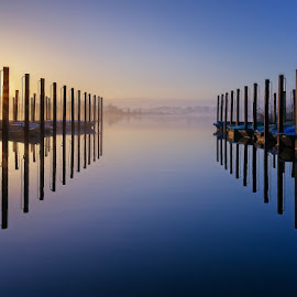 port by Huybrighs Marc - Landscapes Sunsets & Sunrises ( port, orange, blue, waterscape, m..., belgium, sunrise, boat, schulensmeer )