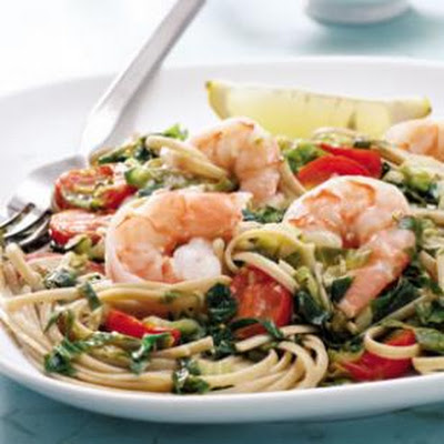 Linguine with Escarole & Shrimp