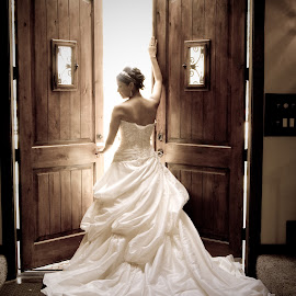 carmen by Mark Muniz - Wedding Bride ( sepia, contemporary, wedding, wedding dress, light )
