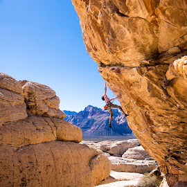 Q climbing Keep Your Powder Dry by Climb Globe - Sports & Fitness Climbing ( rock climbing, climbing, nevada, red rock, trophy wall, rock, red rocks )