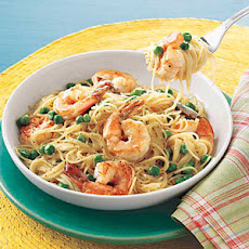 Angel Hair with Shrimp and Peas