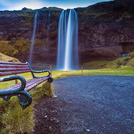 Seljalandsfoss by Rafael Uy - Landscapes Travel ( iceland, seljalandsfoss, waterfalls, bench, long exposure, public, furniture, object )