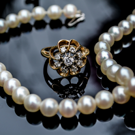 Diamond Ring & Pearls by Jeanne Knoch - Artistic Objects Jewelry ( object, artistic, jewelry,  )