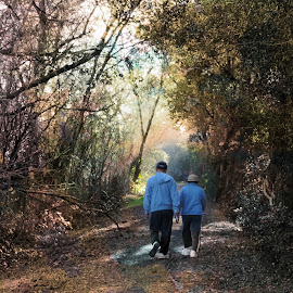 a day in the life by Leslie Hunziker - People Couples ( exercise, couple, walk, people, creek path )
