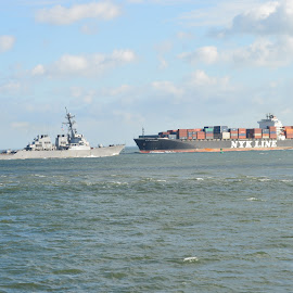 Ships that meet by Thomas Shaw - Transportation Boats ( water, clouds, ship, norfolk, boats, destroyer, chesapeake bay, gray, bay, blue, container, ships, navy )