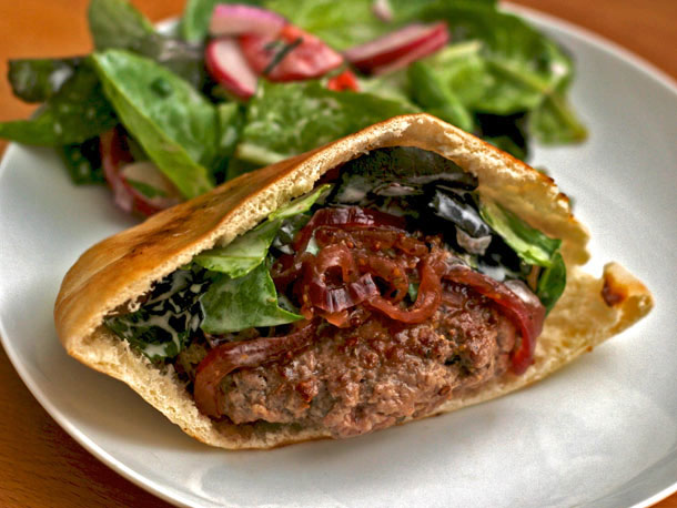 Dinner Tonight: Lamb Burgers with Red Onion Relish