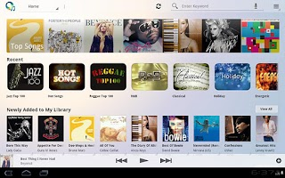 Screenshot of Music Unlimited Tablet App