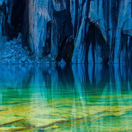 Precipice Lake by Kimberly Kolafa - Landscapes Waterscapes ( water, precipice, reflection, turquoise, blue, sequoia national park, lake, sierra, landscape, rocks, granite )