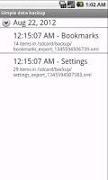 Screenshot of CB data backup