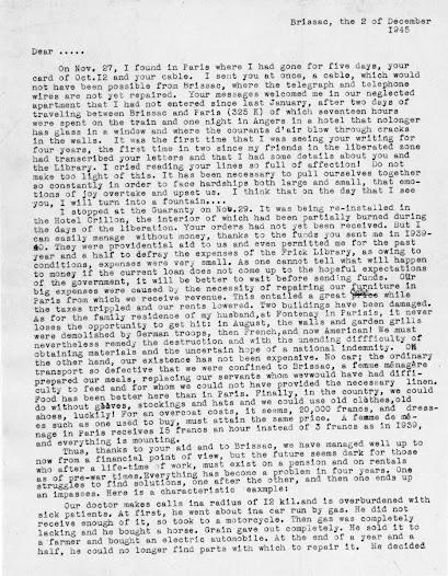 Translation of letter from Clotilde Brière describing the hardships of living in wartime France.