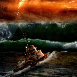 The Perfect Storm by Bjørn Borge-Lunde - Digital Art Places ( clouds, lightning, ship, waves, sea, seascape, boat, storm, skies )
