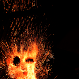 Fire sparks by Horatiu Almasan - Abstract Fire & Fireworks ( face, gril, dark, sparks, fire, close-up )