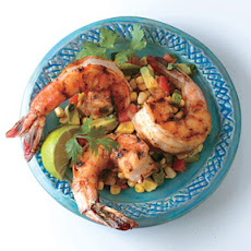 Chile-Rubbed Shrimp with Avocado Corn Cocktail