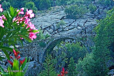 Eski tarihlerde kervanların geçtiği tarihi ipekyolu üzerindeki kemerli köprü