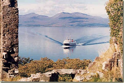 Caledonia returning to Oban from Mull   From Dunollie castle Sept 1986