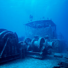 Doc Paulson Wreck by David Gilchrist - Landscapes Underwater ( lndscape, grand cayman, aquatic, shipwreck, underwater )
