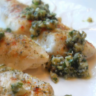 *Baked Haddock with a Walnut Salsa Verde*