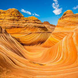 The Wave by Ed Erglis - Landscapes Caves & Formations ( canon, permit area, erglis photography, landscape, northern coyote buttes, 5d mark iii, www.erglisphotography.com, navajo, snadstone, page, arizona, formations, paria canyon vermilion cliffs, rocks, bowl, az, desert, the wave, colors, ut, fun, wilderness, walls, mars, utah, natural objects, grand staircase - escalante, hike, relax, tranquil, relaxing, tranquility )