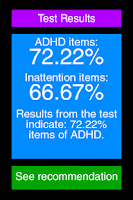 Screenshot of ADHD Test