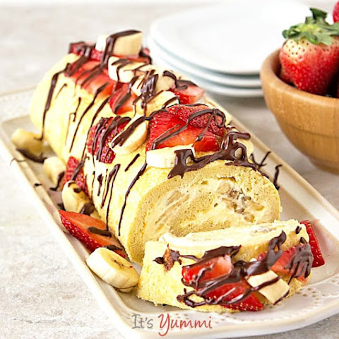 """Skinny"" Banana Split Cake Roll"