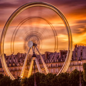 la roue infernal by Serge Thonon - City,  Street & Park  Amusement Parks ( colorful, mood factory, vibrant, happiness, January, moods, emotions, inspiration,  )
