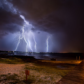 Lightning on the Lake by Jay Kleinrichert - Landscapes Weather ( water, lightning, florida, weather, lake, storm )