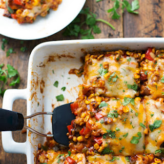 Healthy Mexican Casserole with Roasted Corn and Peppers