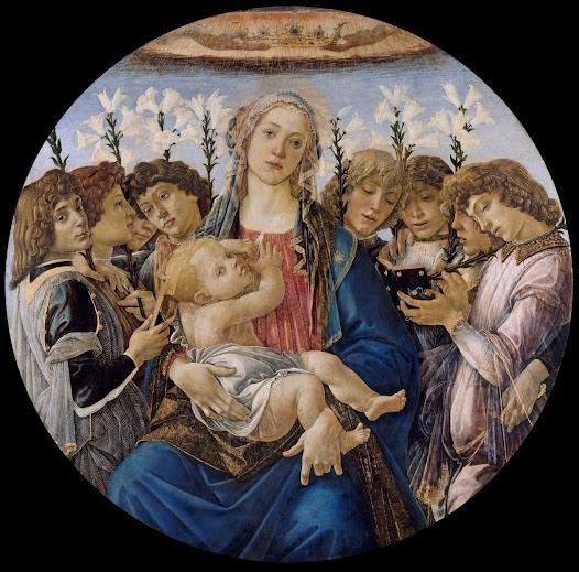 Botticelli Sandro, Madonna con bimbo e angeli cantanti