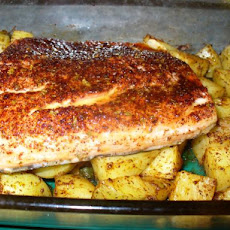Chili-Crusted Salmon With Roasted Potatoes