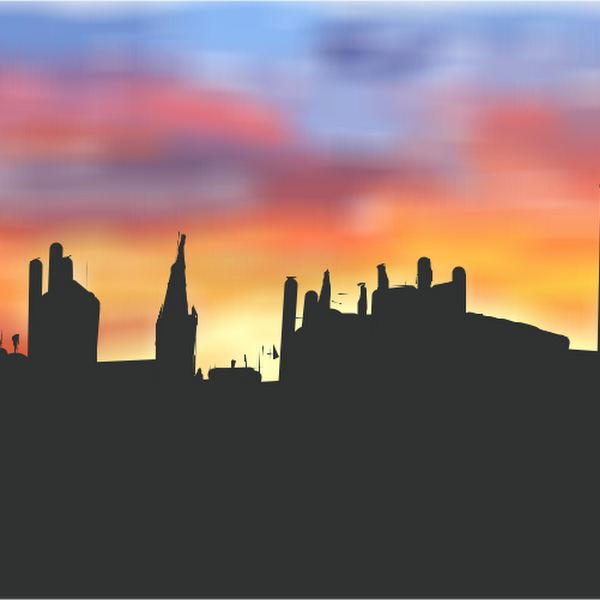 Sunset In The City Drawings Sketchport