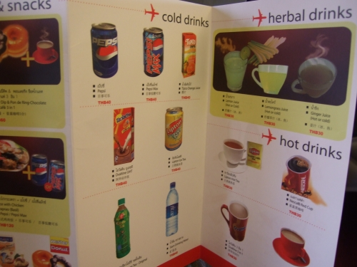 thai air asia drinks menu
