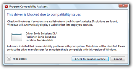 program compatability issues