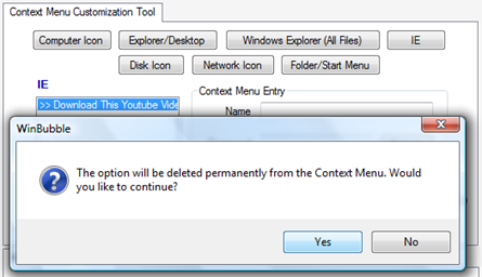 remove ie context menu