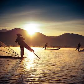 Fishermen of Inle Lake by Jinny Tan - People Portraits of Men ( myanmar, sea, travel, boat, fisherman, landscape )