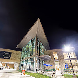 UWF Business Building by Jon Cody - Buildings & Architecture Other Exteriors ( building, night, architecture, university of west florida, panorama )